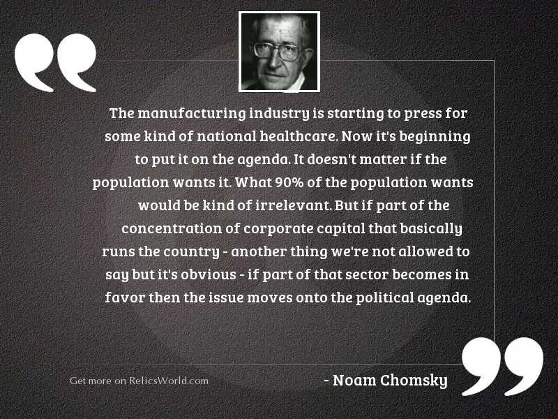 The manufacturing industry is starting