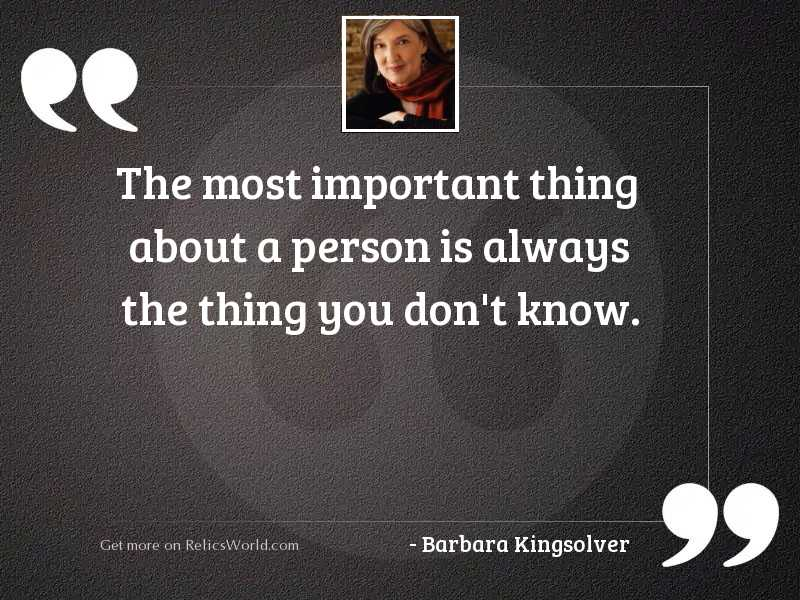 The most important thing about