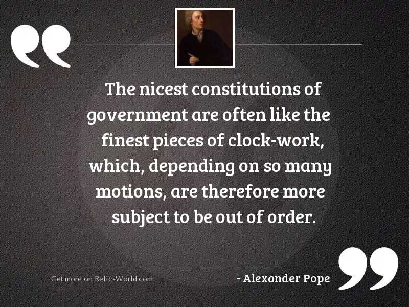 The nicest constitutions of government