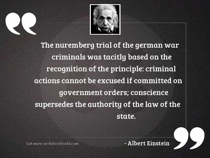 the nuremberg trial of the inspirational quote by albert einstein