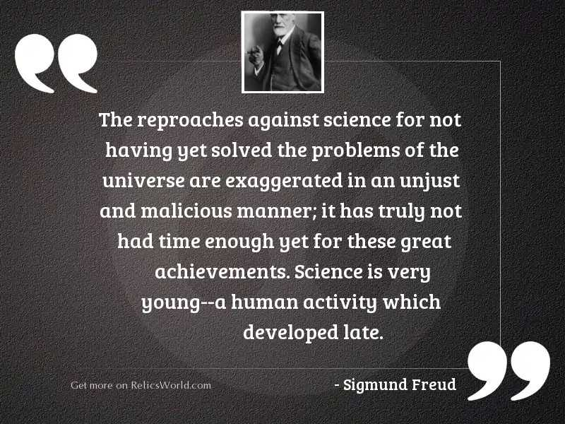 The reproaches against science for