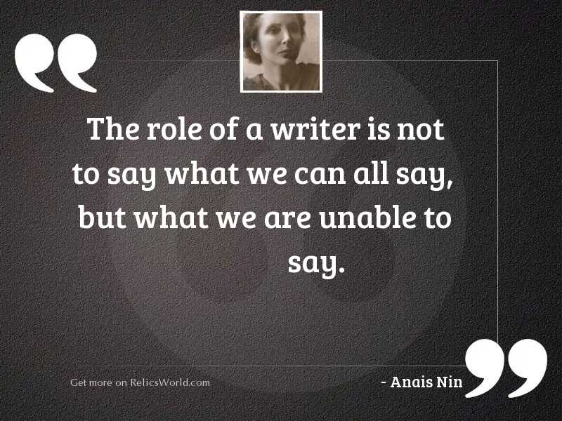 The role of a writer