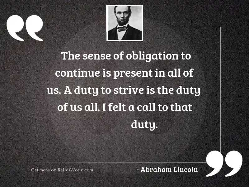 The sense of obligation to