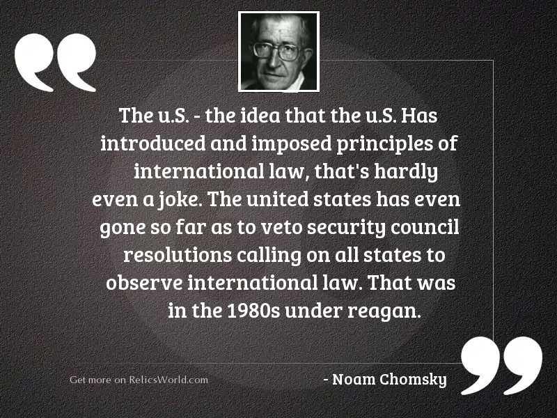 The U.S.   the idea