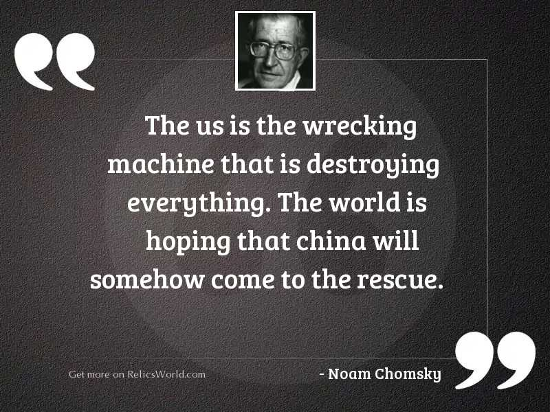 The US is the wrecking