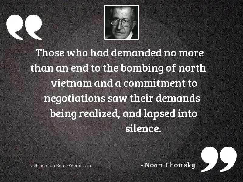 Those who had demanded no