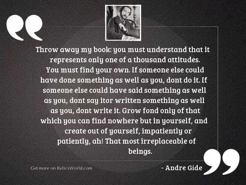 Throw away my book: you