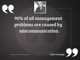 90% of all management problems