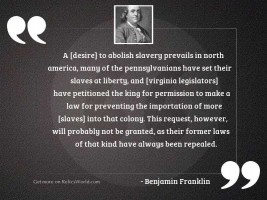 A [desire] to abolish slavery