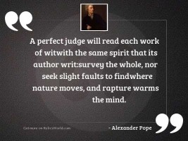 A perfect Judge will read