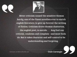 Bitter criticism caused the sensitive