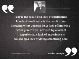 Fear is the result of
