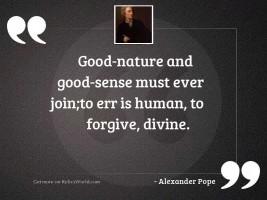 Good nature and good sense