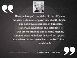 His Deschamps complaint of court