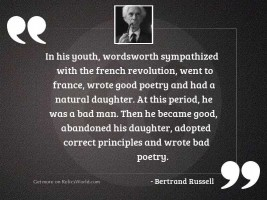 In his youth, Wordsworth sympathized