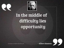 In the middle of difficulty