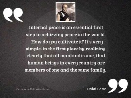Internal peace is an essential