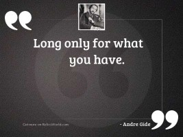 Long only for what you