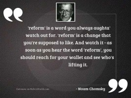 reform is a word you