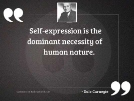 Self expression is the dominant