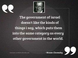The government of Israel doesn'