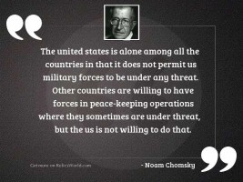 The United States is alone