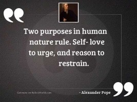 Two purposes in human nature
