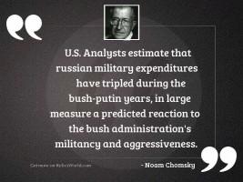 U.S. analysts estimate that