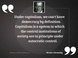 Under capitalism, we can't