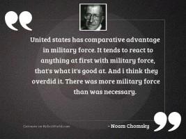 United States has comparative advantage