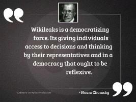 Wikileaks is a democratizing force.