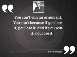 You can't win an