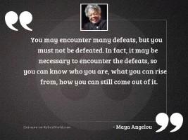 You may encounter many defeats,