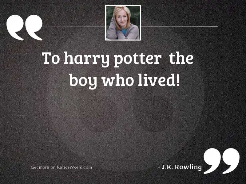 To Harry Potter  the boy