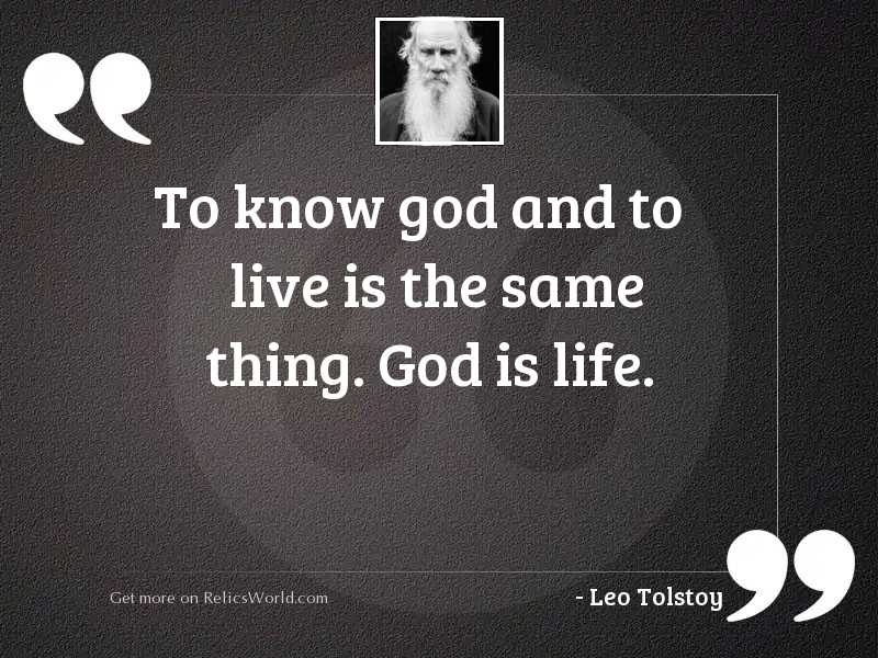 To know God and to