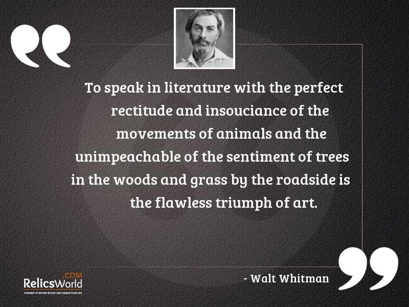 To speak in literature with
