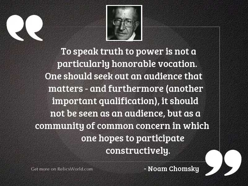 To speak truth to power