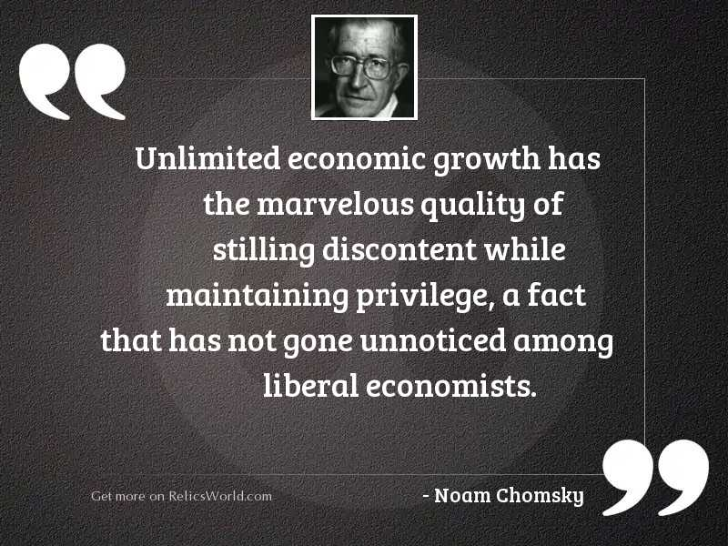 Unlimited economic growth has the