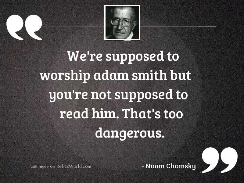 We're supposed to worship