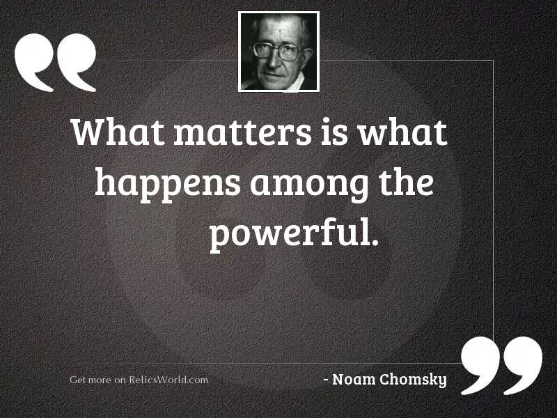 What matters is what happens