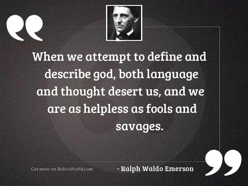 When we attempt to define