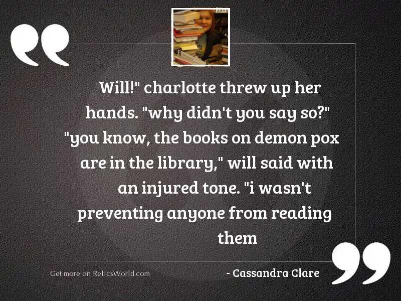 Will Charlotte threw up her