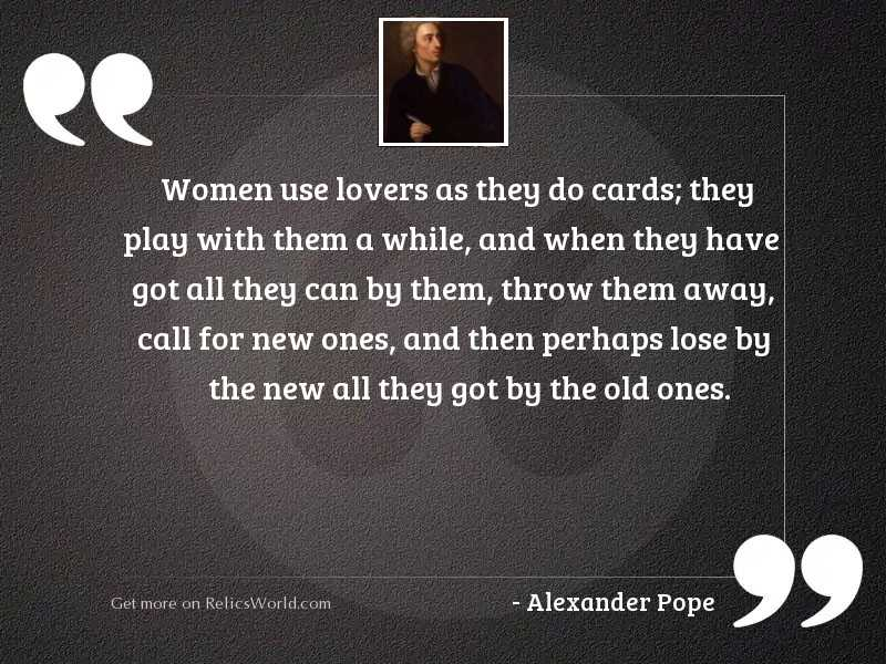 Women use lovers as they