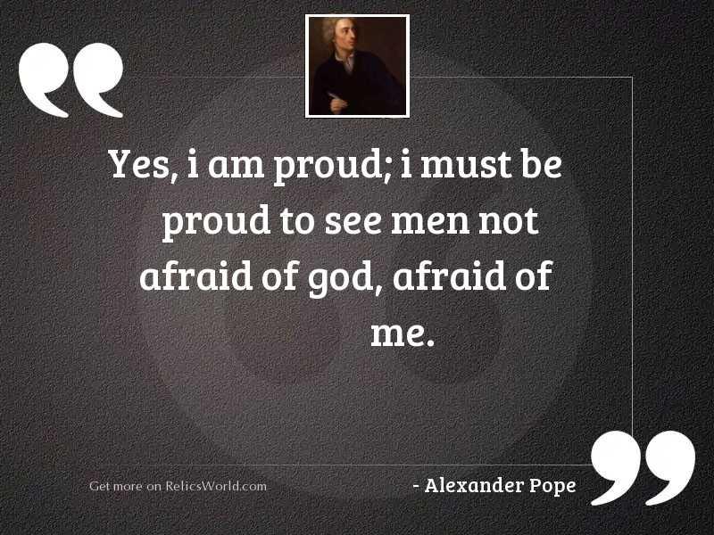 Yes, I am proud; I