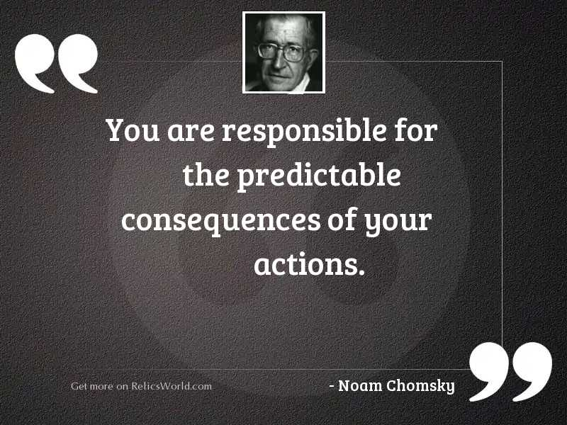 You are responsible for the