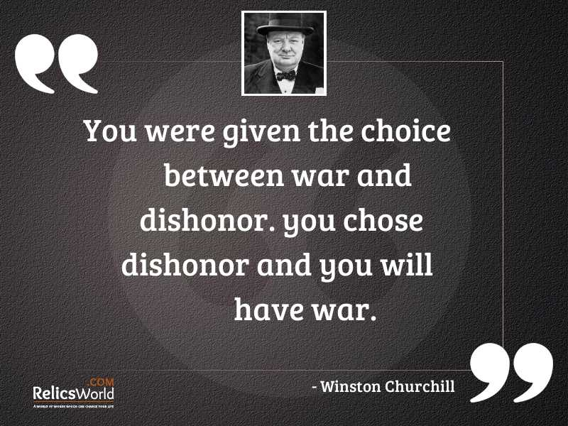 You were given the choice